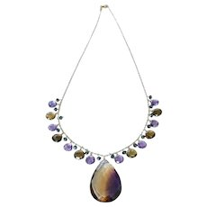 14k-Ametrine Pendant-Multi Gems-Amethyst-Smoky Quartz-London Blue Topaz-14k Charm Fringe Pendant Necklace