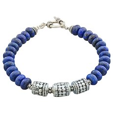 Unisex-Lapis-Bali Handmade Sterling Silver-Artisan Silver-Men's Ladie's Toggle Bracelet - Red Tag Sale Item