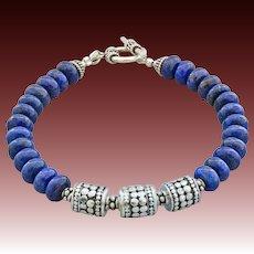 Unisex-Lapis-Bali Handmade Sterling Silver-Artisan Silver-Men's Ladie's Toggle Bracelet