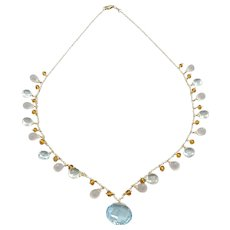14k-Blue Topaz Pendant-Multi Gems-Green Amethyst-Rose Quartz-Citrine-14k Gold Charm Necklace