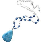 Picturesque Larimar-Kyanite-Sterling Silver Adjustable Blue Necklace