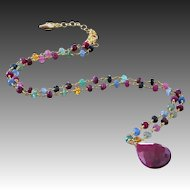 Emerald-Ruby-Blue Pink Yellow Orange Sapphire-Precious Gems--17ct Ruby Pendant Adjustable Vermeil Necklace