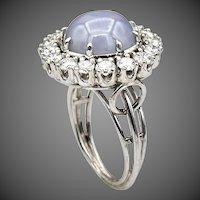 Certified-Platinum-Star Sapphire-Diamond Ring-1950's US Size 7-September Birthstone