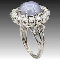 Certified-Platinum-Star Sapphire-Diamond Ring-1950's US Size 7-September Birthstone