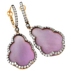 Diamond-14k Rose Gold-Frosted Amethyst-Dangle Earrings-February Birthstone