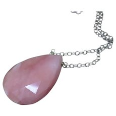 14K-31ct Natural Peruvian Pink Opal-Simply Elegant Large Pendant 14k White Gold Necklace-October Birthstone Necklace