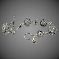 Exceptional Large Bali Bead-Bali Silver-Sterling Silver Ornate Toggle Bracelet with Rosebud Charm-Unisex Bracelet