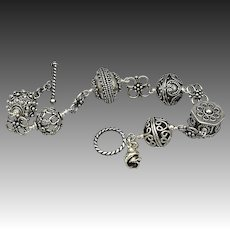 Exceptional Large Bali Bead-Bali Silver-Sterling Silver Ornate Toggle Bracelet with Rosebud Charm-Unisex Bracelet