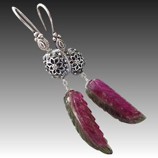 Rare 39ct Natural Watermelon Tourmaline Carved-Bali Handmade Sterling Silver Bold Dangle One of a KInd Earrings