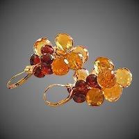 14K Exceptional Citrine-Garnet Onion Cluster 14k Solid Gold Dangle Earrings