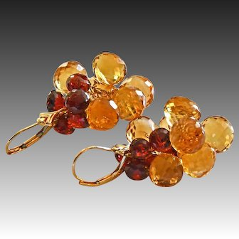 14K Exceptional Citrine-Garnet Onion Cluster 14k Solid Gold Dangle Earrings