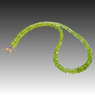 141ct AAA Natural Peridot-Amethyst 14k Gold Gemstone-August Birthstone Necklace