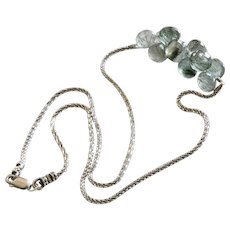 Moss Aquamarine Onions-Beryl-Multi Briolette-Sterling Silver Necklace-March Birthstone Necklace