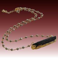 Raw Black Tourmaline-Pyrite Gold Fill Adjustable Necklace
