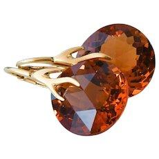 Cognac Quartz-18k Gold Vermeil-Branch Leverback Earrings - Red Tag Sale Item