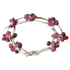 Ruby-Pink Sapphire-Garnet-Rhodolite-Mozambique-January June Setember Birthstone- Sterling Silver Charm Bracelet