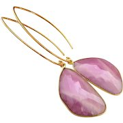 Natural Untreated Pink Sapphire-Gold Fill Gold Vermeil Bold Hoop Earrings-September Birthstone