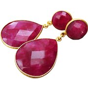 Natural Ruby-Gold Vermeil Bezel-Bold Two Tier Post Earrings-July Birthstone Earrings