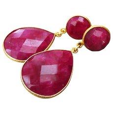 Natural Ruby-Gold Vermeil Bezel-Bold Two Tier Post Earrings-July Birthstone Earrings
