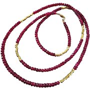 """36"""" Natural Ruby-Long Layering-Gold Fill-Precious Gems-July Birthstone Necklace"""
