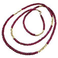 "36"" Natural Ruby-Long Layering-Gold Fill-Precious Gems-July Birthstone Necklace"