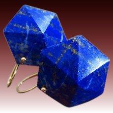 Geometric Lapis Lazuli Pyramids-14k Solid Gold Earrings