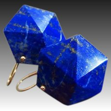 Geometric Lapis Lazuli Pyramids-14k Solid Gold Earrings