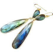 Flashy Fire Labradorite-18k Gold Vermeil-Sterling Silver-Gold Fill Long Dangle Earrings