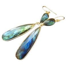 Flashy Fire Labradorite-18k Gold Vermeil-Sterling Silver-Gold Fill Long Dangle Earrings