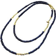 """32"""" Natural Blue Sapphire-Long Layering-Gold Fill-Precious Gems-September Birthstone Necklace"""