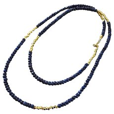 "32"" Natural Blue Sapphire-Long Layering-Gold Fill-Precious Gems-September Birthstone Necklace"