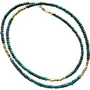 "28"" Natural Emerald-Long Layering-Gold Fill-Precious Gems-May Birthstone Necklace"