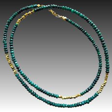 "28"" Natural Emerald-Long Layering-Gold Fill-Precious Gems-May Birthstone Necklace"