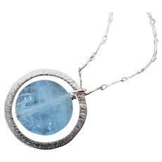 NATURAL Aquamarine-Beryl-Sterling Silver Hoop Pendant Necklace-March Birthstone Necklace