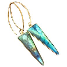 Fire Labradorite Spear Arrow-Contemporary Gold Fill Vermeil Hoop Bold Earrings