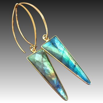 Fire Labradorite Spear Arrow-Contemporary Gold Fill Vermeil Hoop Bold Earrings
