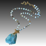 All Natural Peruvian Opal Slab-Gold Fill Gold Vermeil Pendant Adjustable Necklace
