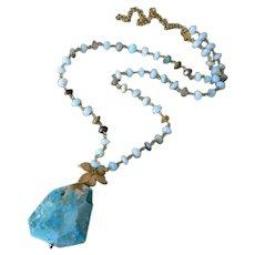All Natural Peruvian Opal Slab-Gold Fill Gold Vermeil Pendant Adjustable Necklace