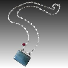 Natural Aquamarine-Ruby-Sterling Silver-Men's-Unisex-March Birthstone Beryl Necklace