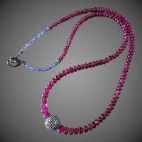 "162ct Natural Rubellite Tourmaline-Tanzanite-3.4ctw Pave Diamond Pendant-25"" Unisex Men's Women's Necklace-Diamond Clasp-Sterling Silver Necklace"