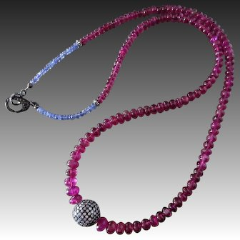 "162ct Natural Rubellite Tourmaline-Tanzanite-3.4ctw Pave Diamond Pendant-25"" Unisex Men's Women's Necklace-Diamond Clasp-Sterling Silver Necklace"
