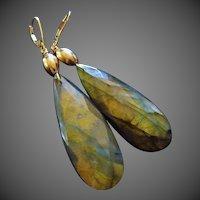 14k Intense Golden Fire Labradorite-Bold Dangle 14k Leverback Earrings