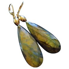 14k Intense Golden Fire Labradorite-Bold Dangle 14k Leverback Earrings