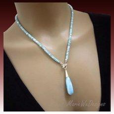 Picturesque Larimar- Briolette Pendant-Sterling Silver Simply Elegant Front Toggle Necklace