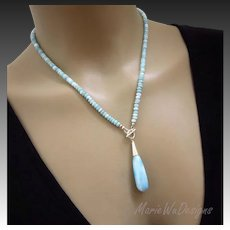 Picturesque Larimar- Briolette Pendant-Sterling Silver Simply Elegant Front Toggle Necklace
