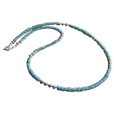 "24"" Natural Blue Diamond 4.5mm-Thai Karen Hilltribe Sterling Silver Long Unisex Mens Womens Necklace-April Birthstone Necklace"
