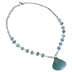 138ct Aquamarine-Moss Aquamarine-Sterling Silver-March Birthstone-21 inch Pendant Necklace