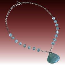 138ct Aquamarine-Moss Aquamarine-Sterling Silver-March Birthstone-21 inch Pendant Necklace