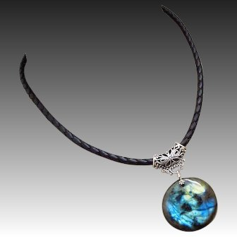 Outstanding Blue Green Gold Fire Labradorite Pendant-Bali Silver-European Braided Leather Necklace-Sterling Silver Adjustable Necklace with Charm