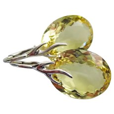 34ct Lemon Quartz Solitaires-Sterling Silver-Branch Leverback Earrings